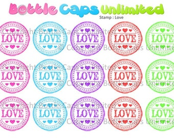 """15 Stamp Love Download for 1"""" Bottle Caps (4x6)"""