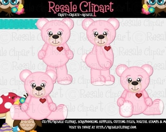 Valentine Love Bears Light Pink 1 Clipart (Digital File Download)
