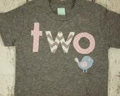 Girl's Birthday Shirt woodland themed party bird sparrow chevron woodgrain pink light blue first second whatever birthday you like