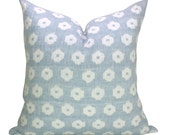Schumacher Timur Weave pillow cover in Sky - blue background