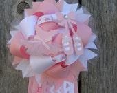 Ballet Shoe gift-hanging tag. ballet. Baby pink, ribbon embellishment. Baby shower, ballerina birthday,