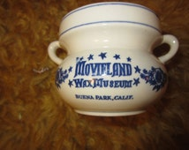 "MOVIELAND Wax Museum Made in Japan Souvenir of Buena Park CA Mug Ceramic 3"" Tall Original Price Sticker Kitschy"