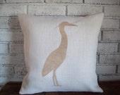 Egret Pillow Cover 18 x 18 or 20 x 20 - Heron Pillow - Coastal Bird Pillow - Burlap Decorative Pillow Cover - Bird Pillow - More Colors