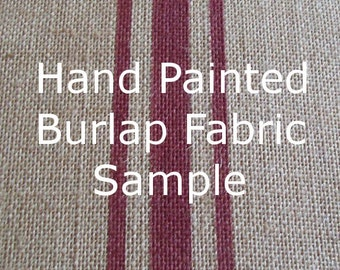 Burlap Fabric Sample with Hand Painted Stripes - Burlap Fabric Swatch