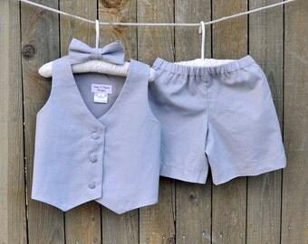 Gray linen shorts, vest and bowtie, Ring bearer suit, many colors, Beach Weddings, Photos, dedications...6m,12m,2t,3t,4t,5,6,7,8,10