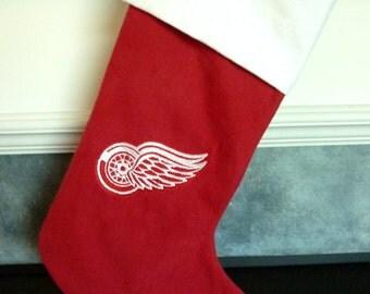 "Personalized 18"" Detroit Redwings Hockey Christmas Stocking 100% Cotton"