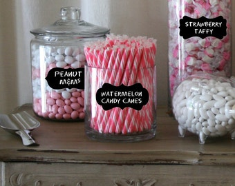 Candy Buffet Label for Jars - Chalkboard Labels Medium- mixed set of 18 - Chalkboard labels for Weddings, Mason Jars, Candy Buffet Jars