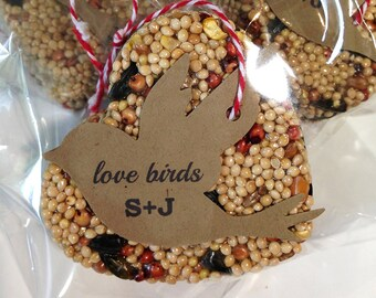 50 Bird Seed Heart Shaped Favors in cello bags