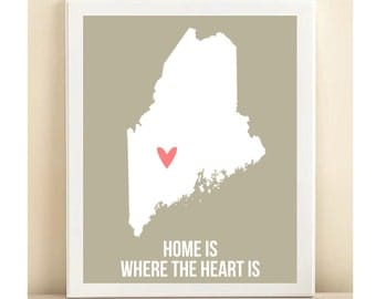 Customize Maine Home is Art Print 8 x 10 inch Travel Map I heart USA SALE buy 2 get 3