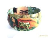 Frida Kahlo Bangle - Mexican Art bracelet - Fridamania jewelry - eco friendly - Roots green and orange bangle - OOAK Frida Kalho gifts