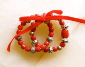 Moroccan jewelry - coral bracelets - set of two - moroccan silver tone beads - roll on bracelet - moroccan art
