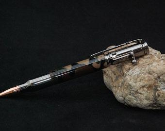 Handmade Bolt Action Rifle Acrylic Pen - Camoflauge With Gun Metal Chrome Plating