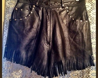 Retro Black Leather Fringe and Studded Shorts size Medium