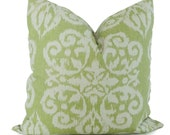 SALE. Lacefield Celery Green Ikat Decorative Pillow Cover, Throw Pillow, Accent Pillow, Pillow Sham 20X20