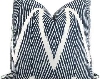 Indigo Blue Ikat Chevron Decorative Pillow Cover, 18x18, 20x20, 22x22, Euro sham or lumbar pillow Throw Pillow, Lacefield Bali Pillow Cover