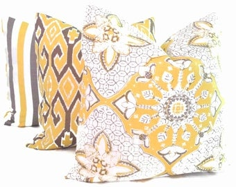 Quadrille China Seas New Batik Yellow Gray Pillow Cover Square, Eurosham or Lumbar pillow Accent Pillow, Throw Pillow, Toss Pillow