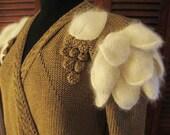 Vintage 80's Dramatic NANNELL Angora Puffed Sleeve Rayon Sweater