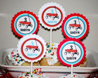 Red Wagon Birthday Cupcake Toppers/ Red Wagon Birthday Party