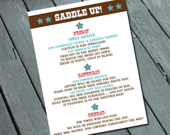 Western Cowgirl Theme Itinerary/details insert: Digital printable file/ Printing Available Upon Request