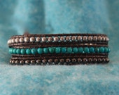 Inspired Southwest 3x leather wrap bracelet with turquoise, gunmetal and nickel beads on brown leather (B308)