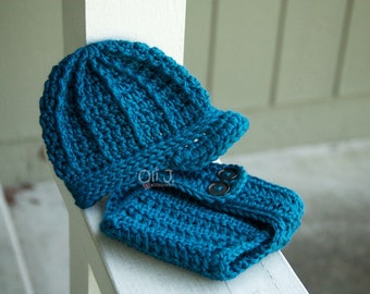 Ready-to-Ship Boy's Brimmed Beanie and Diaper Cover Photo Prop Set - Ocean Blue Newborn size