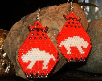 Native American style handmade beaded white buffalo earrings