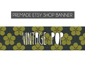 premade etsy shop banner - vintage, pattern, flowers, yellow, grey, simple, modern