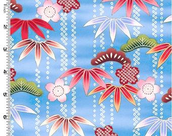 SALE - Kona Bay's Secret Pond Collection Vertical Japanese Floral in blue (1 yard)