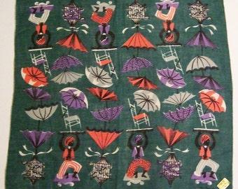 SALE - Vintage Designer Tammis Keefe Umbrella Hankie