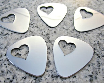 """1""""x1 1/4"""" (25MMx32MM) Heart Hole Guitar Pick Stamping Blanks, 22g Stainless Steel - AWESOME Silver Alternative GPHTW10-08"""