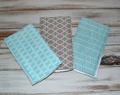 Baby Boy Burp Cloths Boutique Boy Aqua and Gray Burp Cloth Set - Herringbone Quatrefoil Teal Aqua Blue and Gray - Sweet Lovebug
