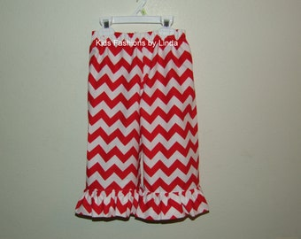 Red Chevron Ruffle Pants