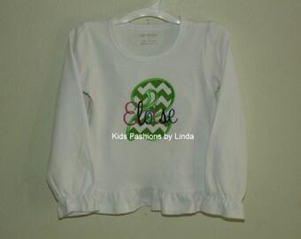 Girl Long Sleeve White Ruffle Birthday  Shirt