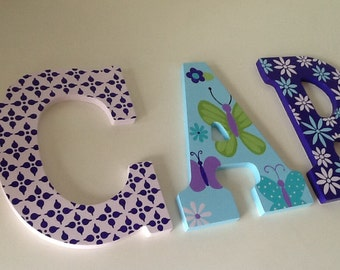 Custom Painted Girl's Wall Letters - Beautiful Butterfly