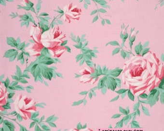 LAMINATED cotton fabric by the yard (similar to oilcloth) - Rose Vine Blush - Veranda - WIDE - BPA free - Approved for children's products