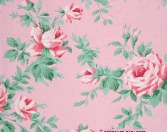 18 x 20 LAMINATED cotton fabric - Rose Vine Blush - (aka oilcloth, coated vinyl) Veranda  BPA free