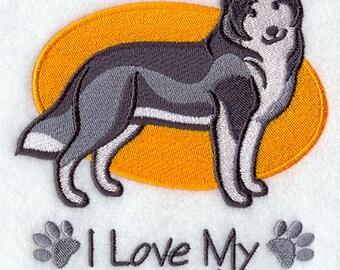I Love My Siberian Husky Embroidered Flour Sack Hand/Dish Towel