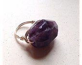 Amethyst ring // silver wire wrapped // size 6