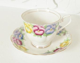 Vintage Royal Albert Pansy Flower Teacup & Saucer Blue Purple Yellow