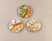 Set of 3 Three Map Buttons D Pin Back Badges Street Atlas Globe British Traveller Bon Voyage Gift Bag Accessory Button Badge UK Green