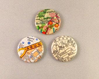 Set of 3 Three Map Buttons D Pin Back Badges Street Atlas Globe British Traveller Bon Voyage Gift Bag Accessory Button Badge UK Green