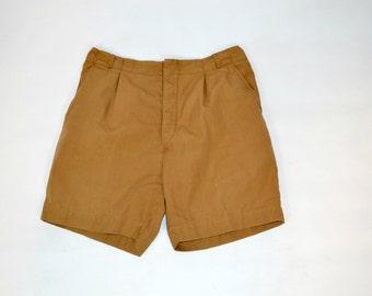 1960s Brown Khaki Shorts, Walking, High Waist, Button Placket, Ladies Shorts