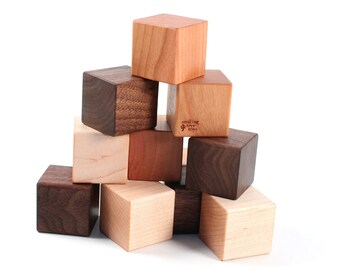 12-piece organic wooden blocks - naturally colorful hardwood building block set with homegrown organic finish, an heirloom baby shower gift