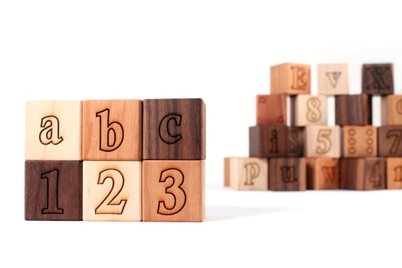 36-piece DELUXE ALPHABET NUMBER block set  - all natural, educational wooden toys for learning letters, numbers, and shapes