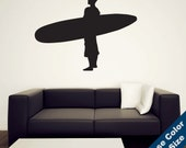 Standing Surfer Wall Decal - Vinyl Sticker - Free Shipping
