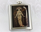 Hip Flask, Art Deco Woman with Peacock