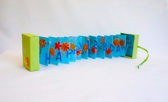 HAPPY 12th Birthday Wishes Accordion Book Card In A By