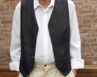 Black jacquard clasic men's vest, size L mens vest, ready to ship