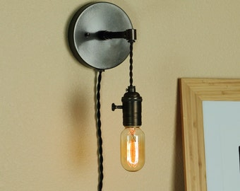 Wall Sconce With Usb : Industrial Wall Sconce w / Edison Light Bulb and Antique Style Cloth Wire - Minimalist Lighting ...