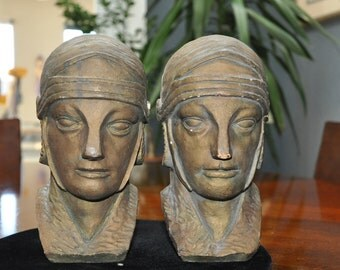 Vintage Art Deco Bookends, Men, Native American men?
